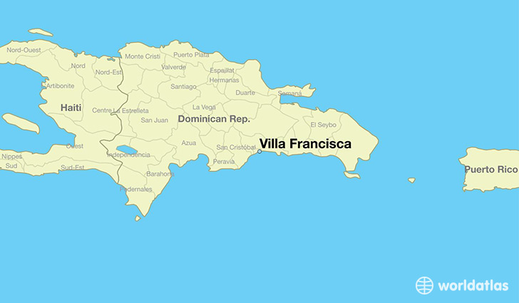 map showing the location of Villa Francisca