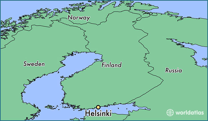 map showing the location of Helsinki