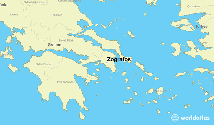 map showing the location of Zografos
