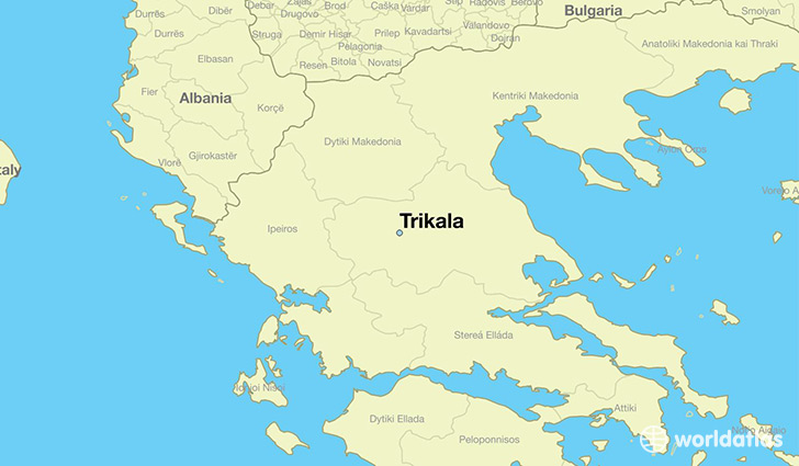 map showing the location of Trikala