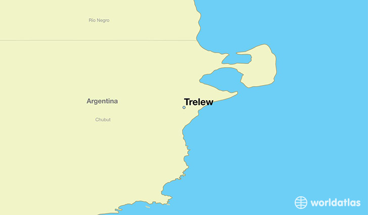 Where is trelew argentina trelew chubut map worldatlas map showing the location of trelew gumiabroncs Choice Image