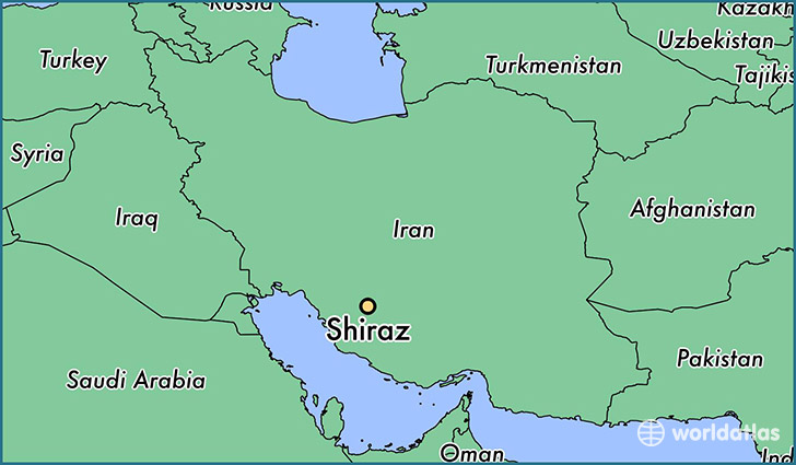 map showing the location of Shiraz