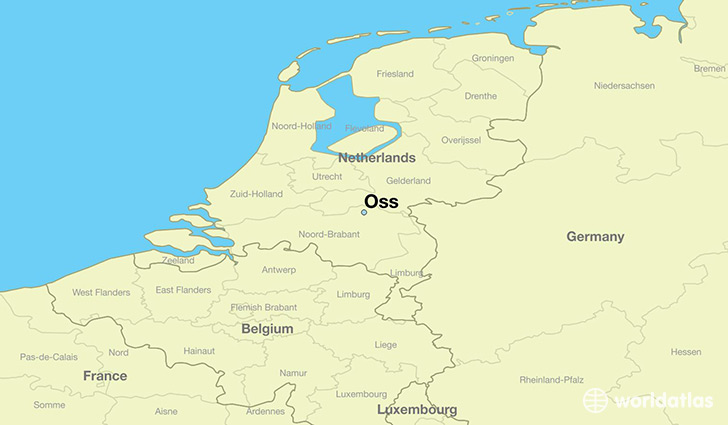 map showing the location of Oss