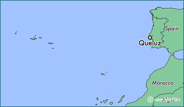 map showing the location of Queluz