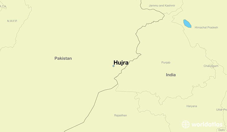 map showing the location of Hujra