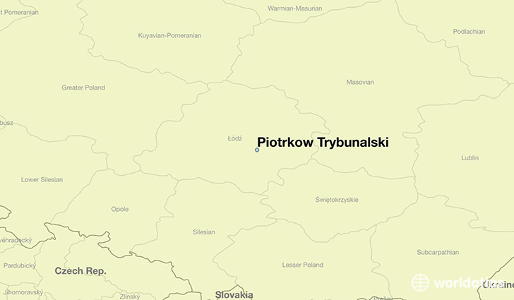 map showing the location of Piotrkow Trybunalski