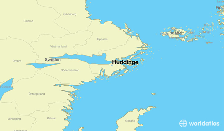 map showing the location of Huddinge