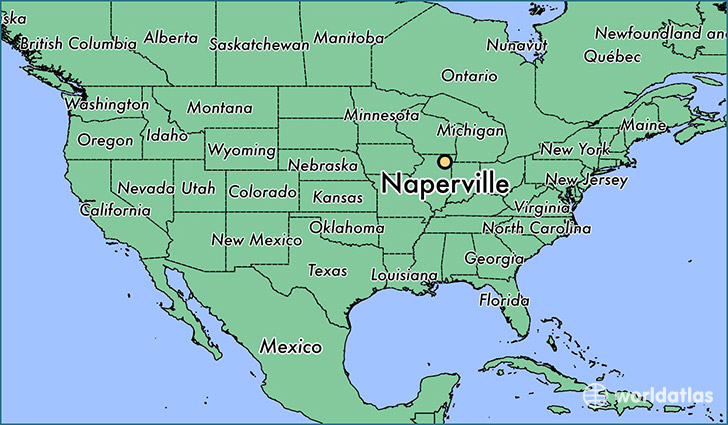 map showing the location of Naperville