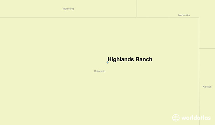 map showing the location of Highlands Ranch