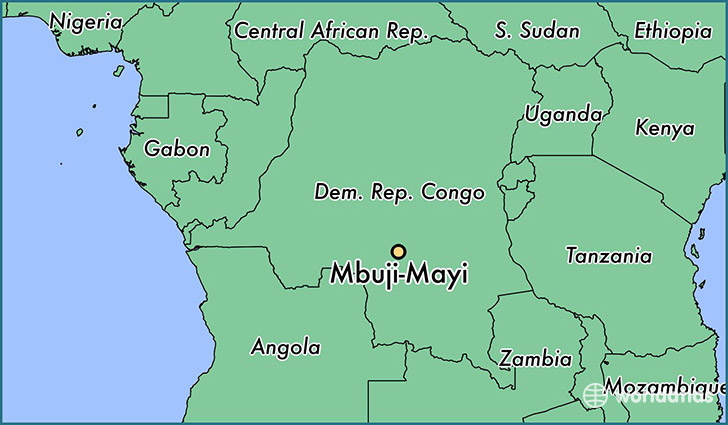 map showing the location of Mbuji-Mayi