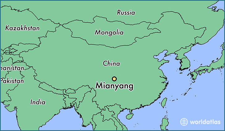 map showing the location of Mianyang