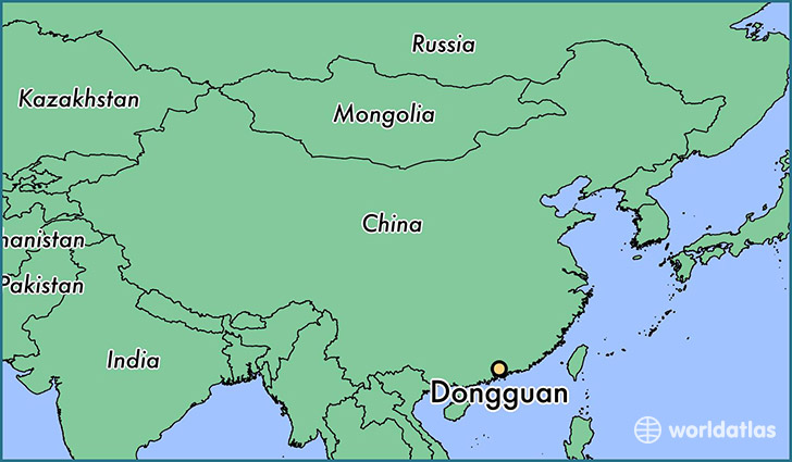 map showing the location of Dongguan