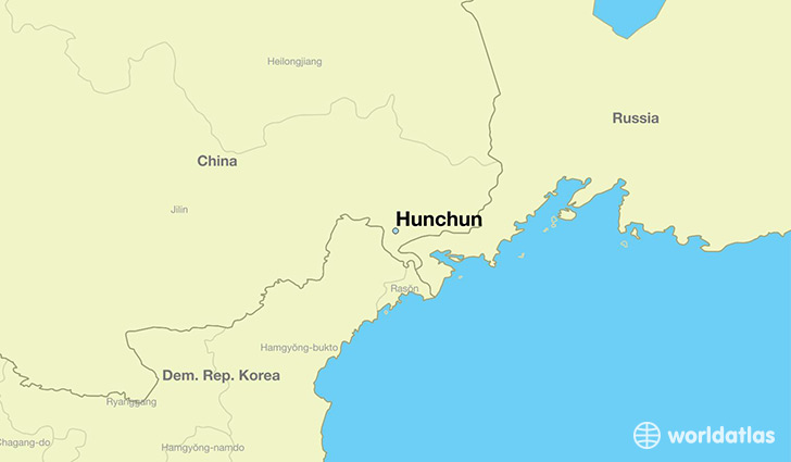 map showing the location of Hunchun