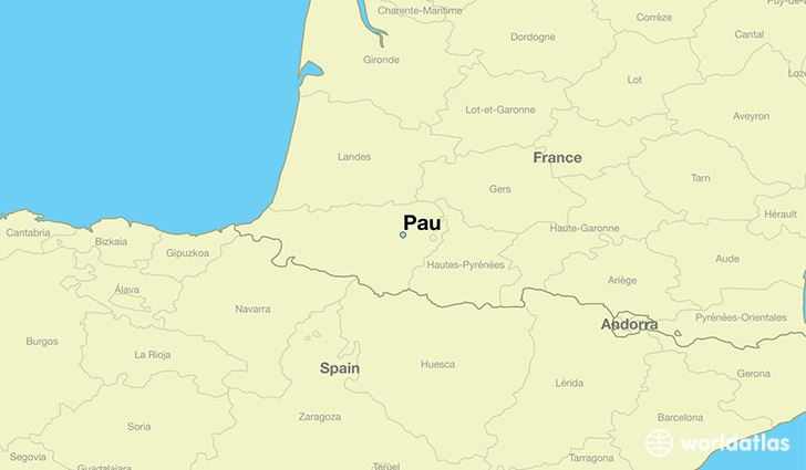 map showing the location of Pau