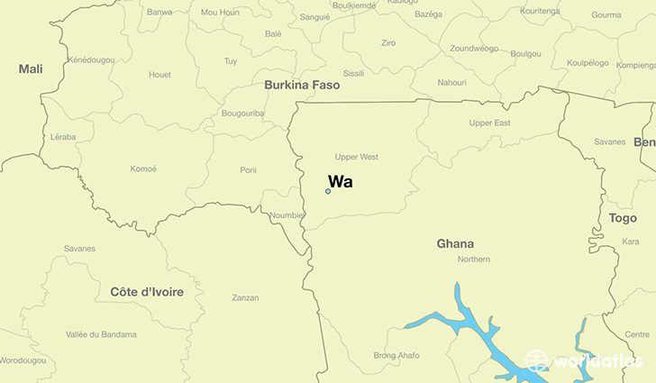 map showing the location of Wa
