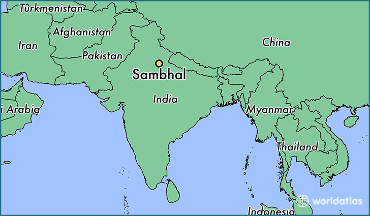 map showing the location of Sambhal