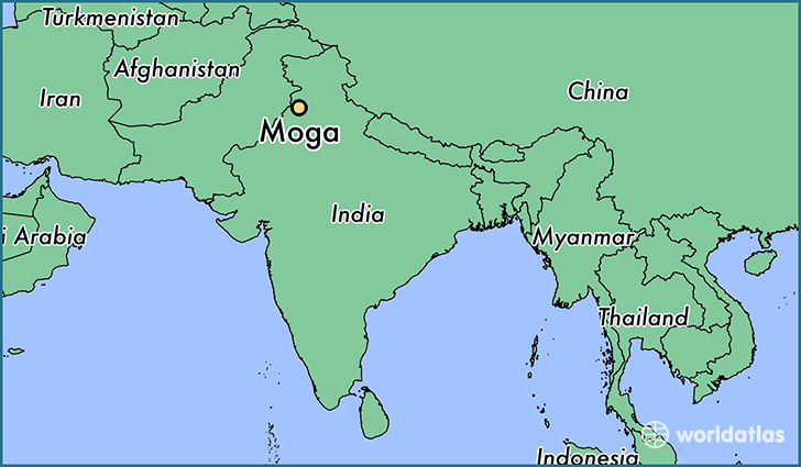 map showing the location of Moga