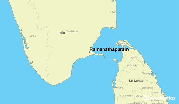 map showing the location of Ramanathapuram
