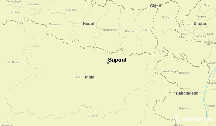 map showing the location of Supaul