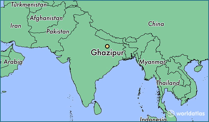 map showing the location of Ghazipur