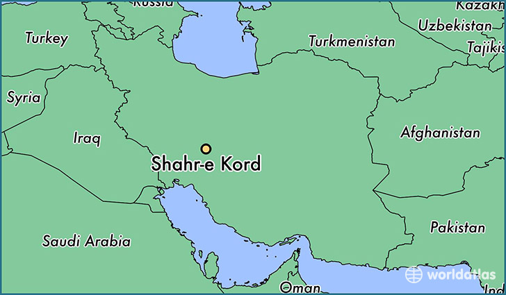 map showing the location of Shahr-e Kord
