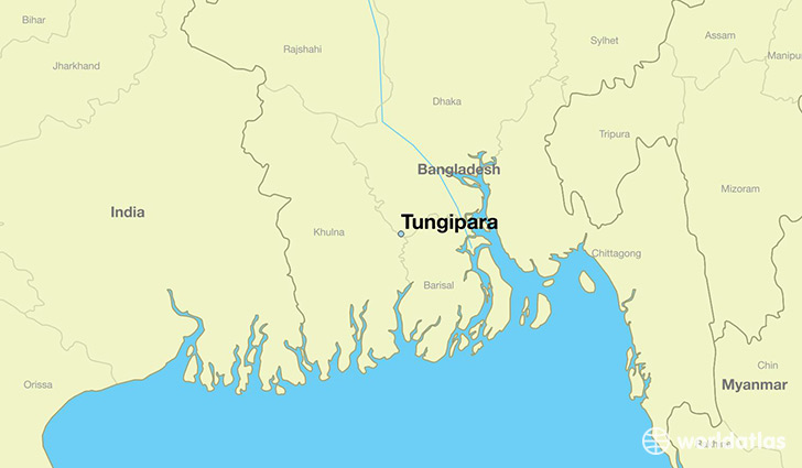 map showing the location of Tungipara