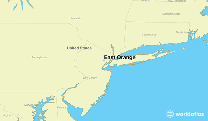 map showing the location of East Orange