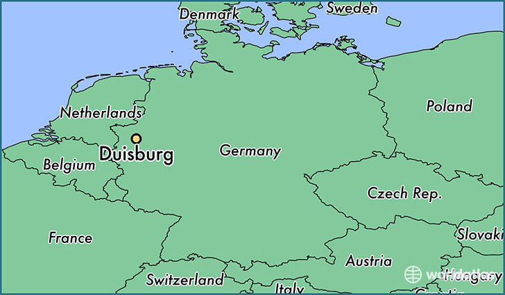 map showing the location of Duisburg