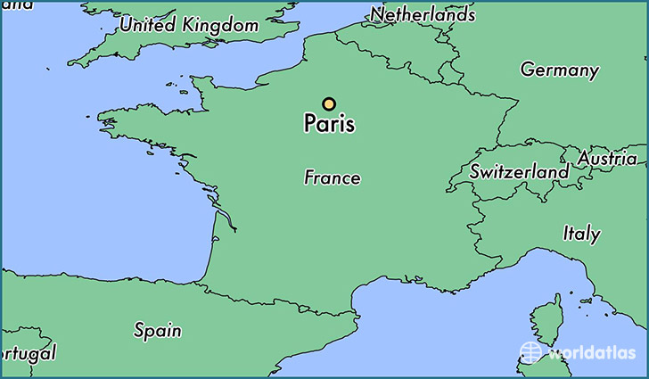 map showing the location of paris