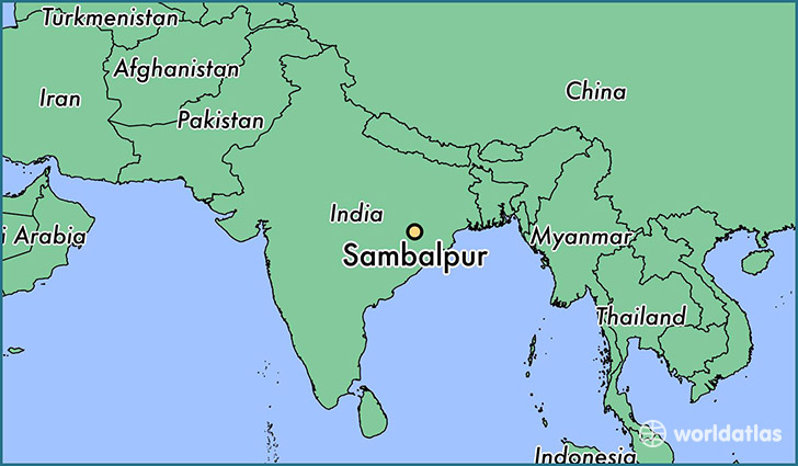 map showing the location of Sambalpur
