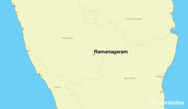 map showing the location of Ramanagaram