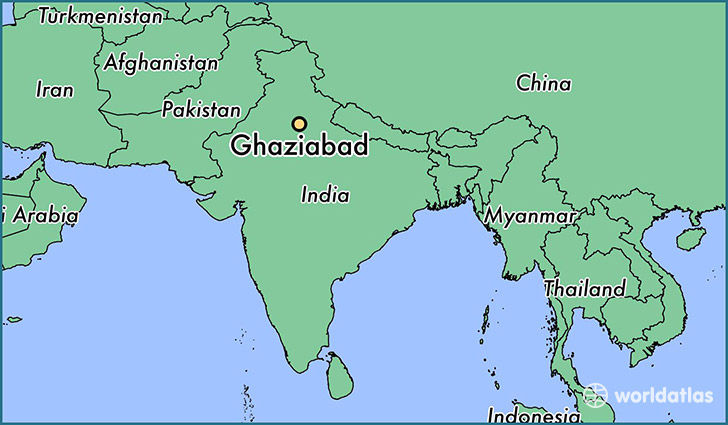 map showing the location of Ghaziabad
