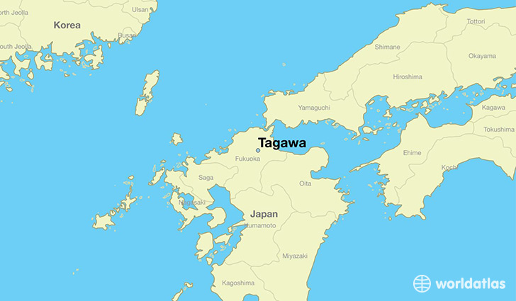 map showing the location of Tagawa
