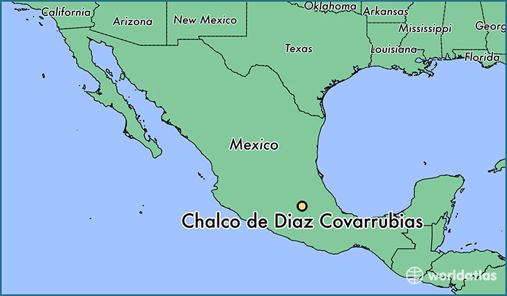 map showing the location of Chalco de Diaz Covarrubias