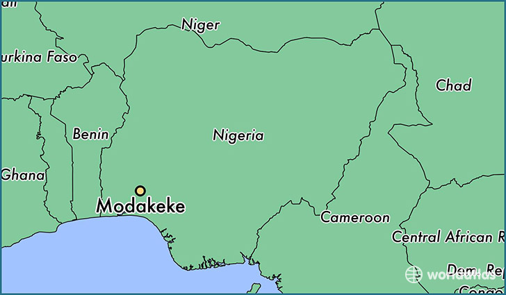 map showing the location of Modakeke