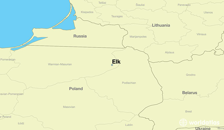 map showing the location of Elk