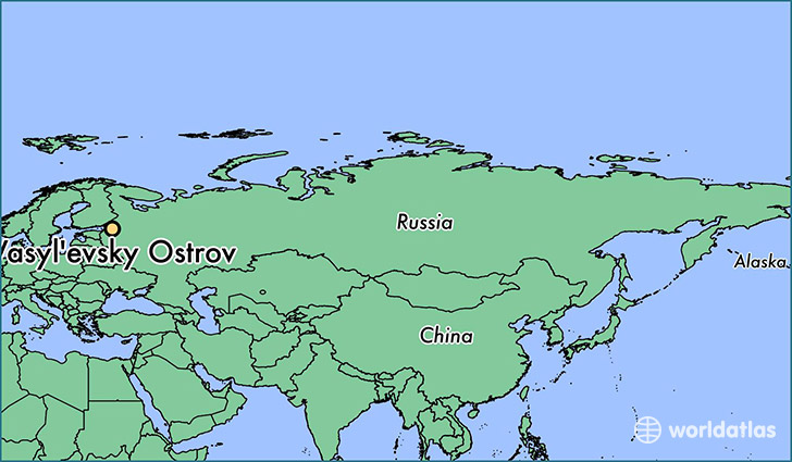 map showing the location of Vasyl'evsky Ostrov