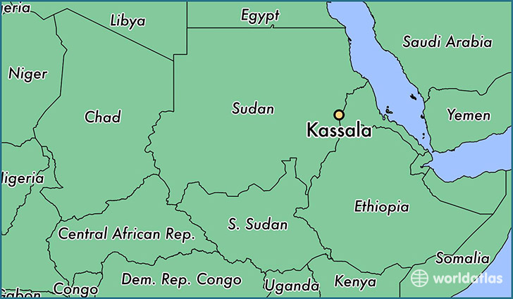 map showing the location of Kassala