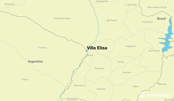map showing the location of Villa Elisa