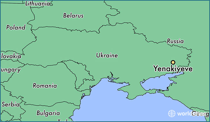map showing the location of Yenakiyeve