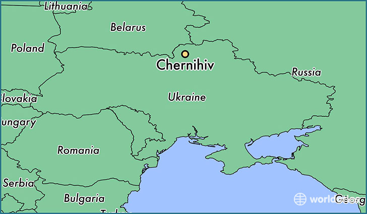 map showing the location of Chernihiv
