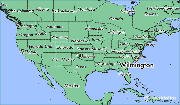 map showing the location of Wilmington