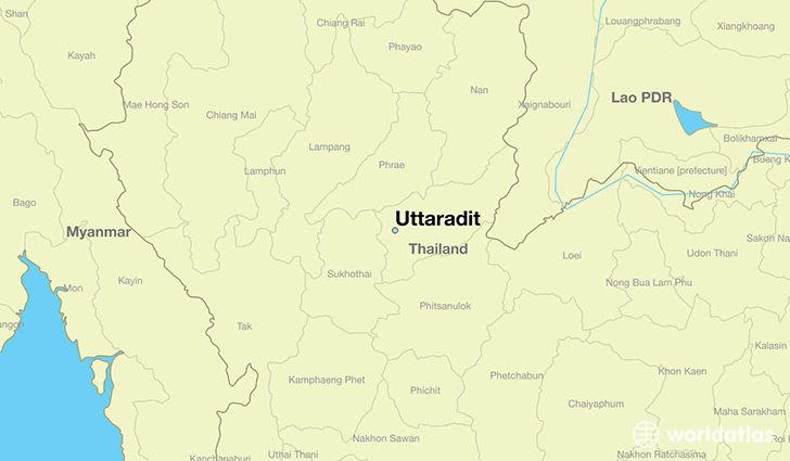 map showing the location of Uttaradit