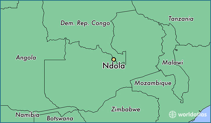 map showing the location of Ndola