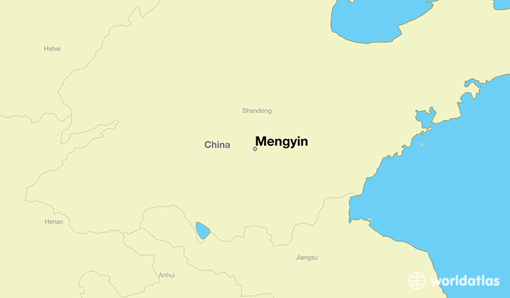map showing the location of Mengyin