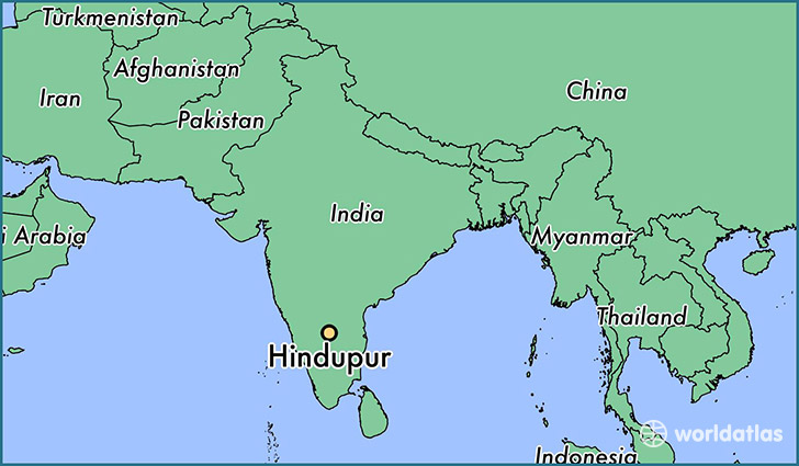 map showing the location of Hindupur