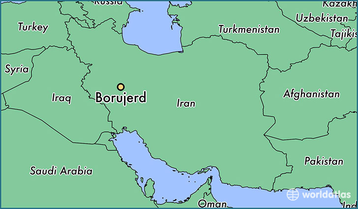 map showing the location of Borujerd