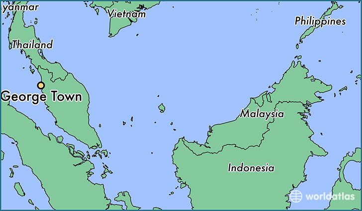 map showing the location of George Town