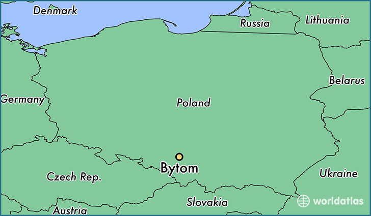 map showing the location of Bytom