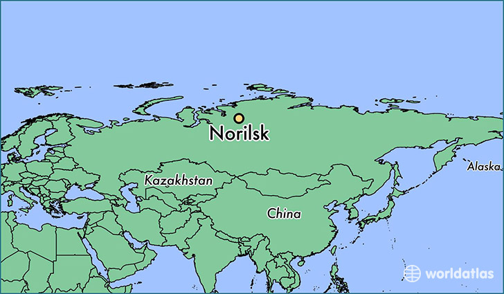 map showing the location of Norilsk